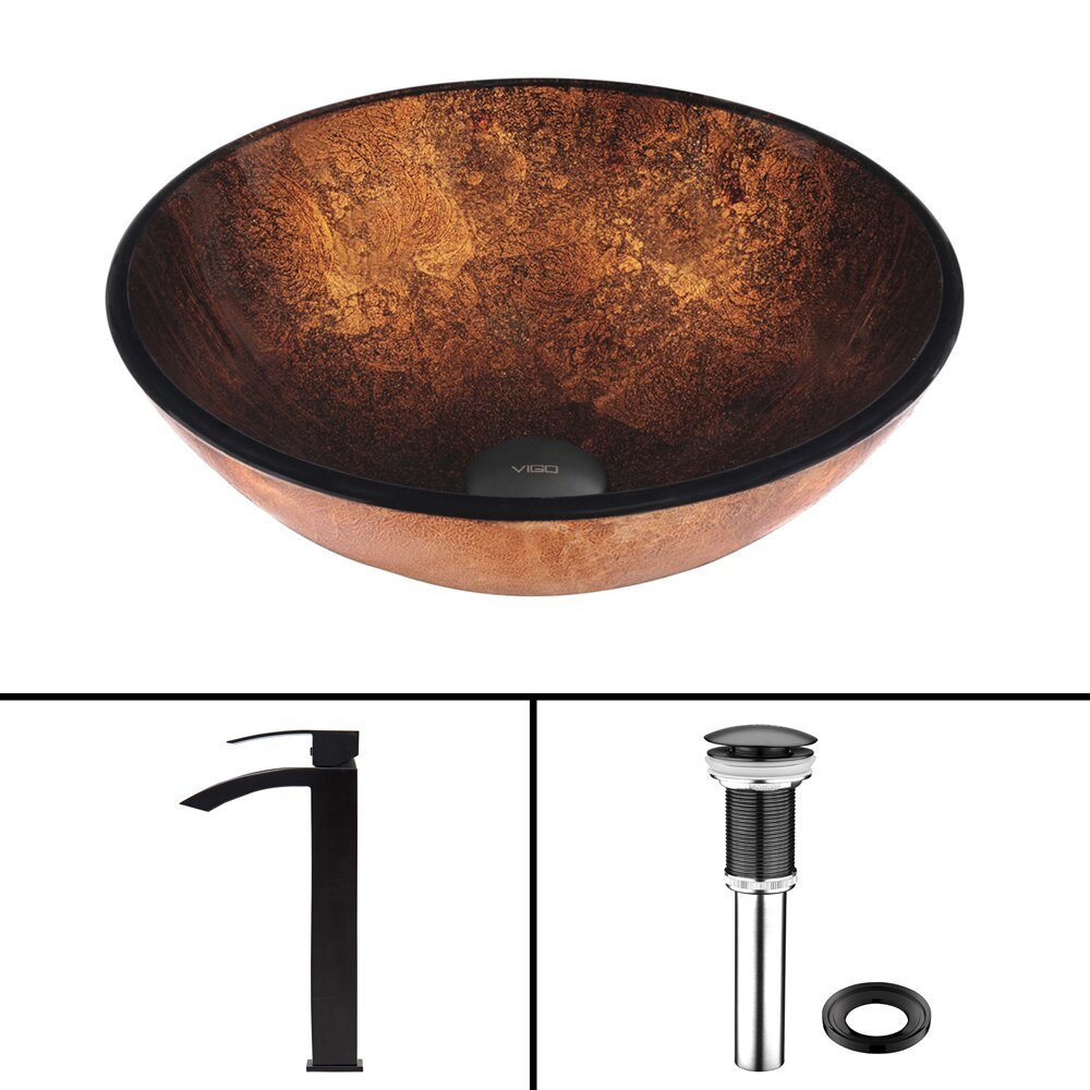 Vigo russet glass vessel bathroom sink and duris vessel Black vessel bathroom sink