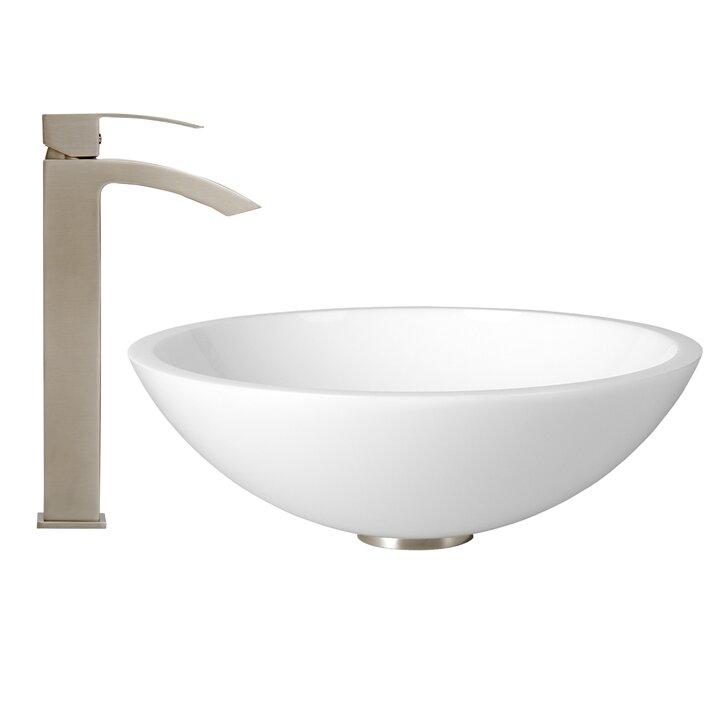 Vigo flat edged white phoenix stone vessel sink and duris for Flat bathroom sinks