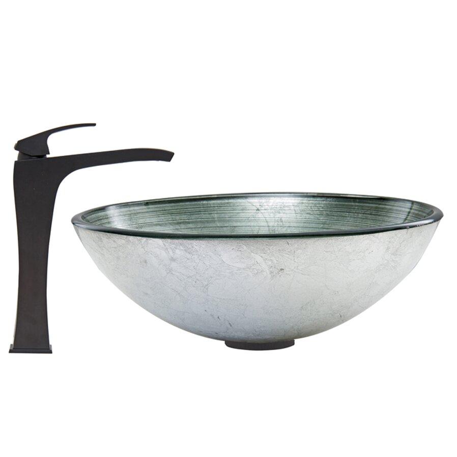 Vigo Simply Silver Glass Vessel Bathroom Sink And