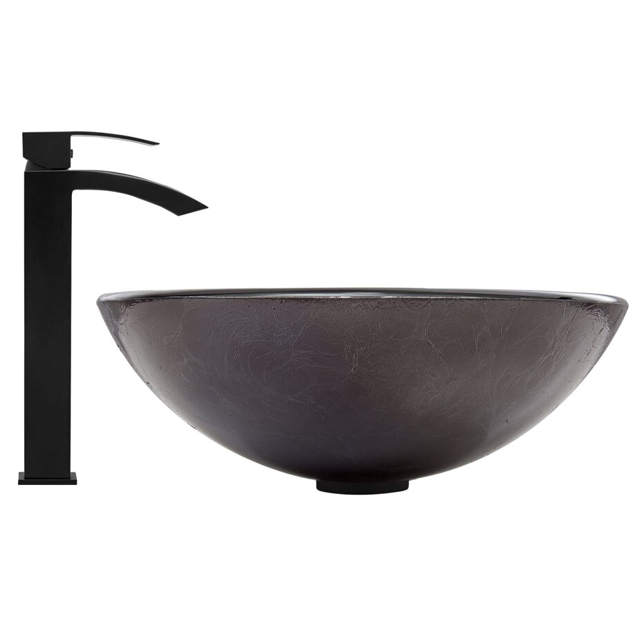 Vigo Gray Onyx Glass Vessel Bathroom Sink And Duris Vessel
