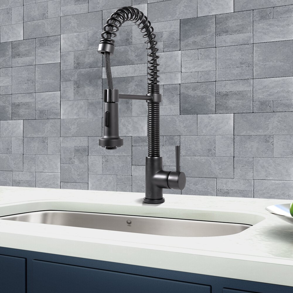 Vigo Black Pull Down Spray Kitchen Faucet