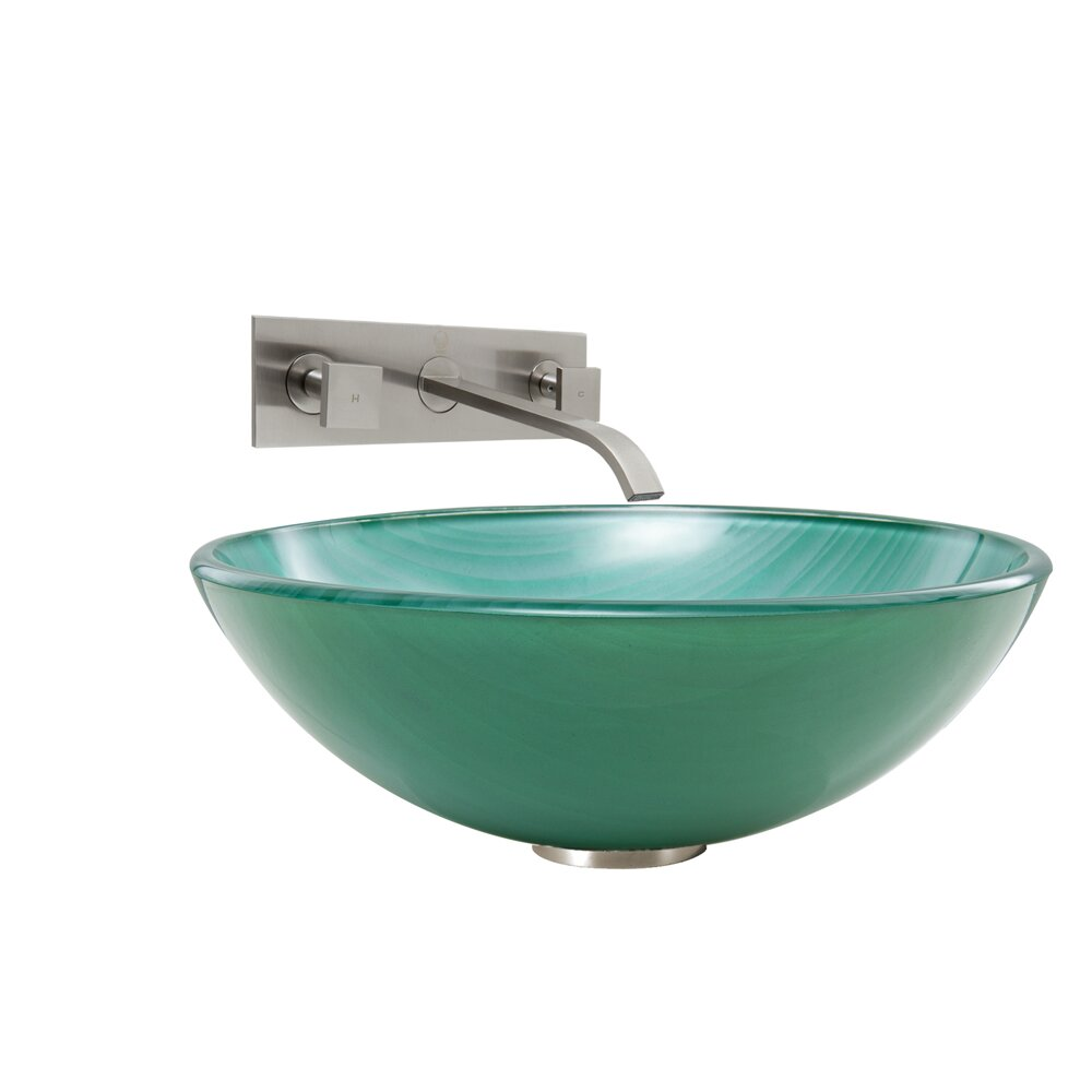 Vigo Whispering Wind Glass Vessel Bathroom Sink And Titus Wall Mount Faucet W
