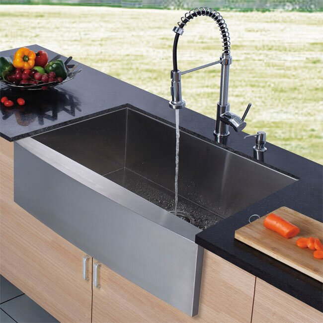 Vigo Farmhouse Stainless Steel Kitchen Sink Chrome Faucet And Dispenser