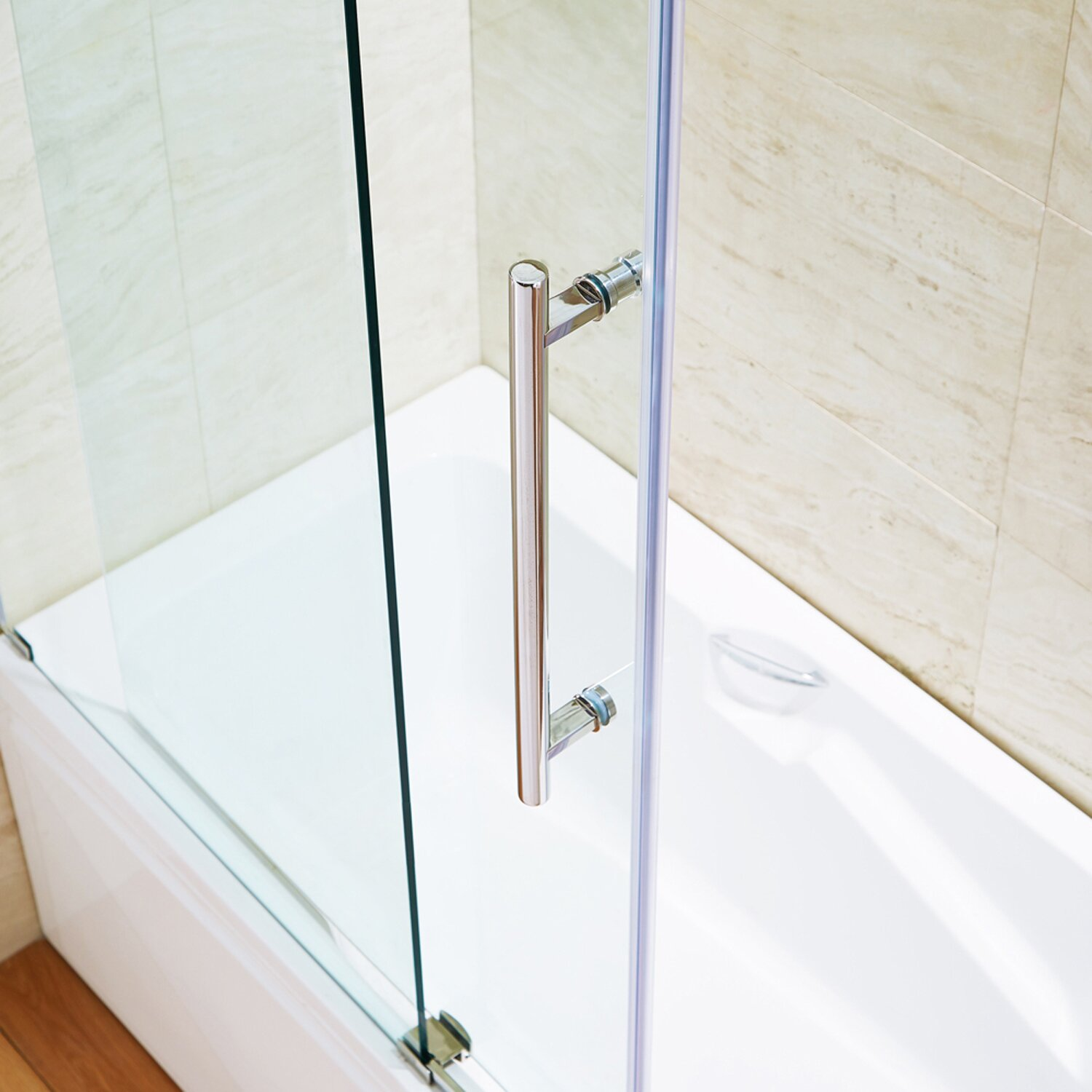 Vigo elan 60 x 66 single sliding frameless tub door for Single sliding glass door