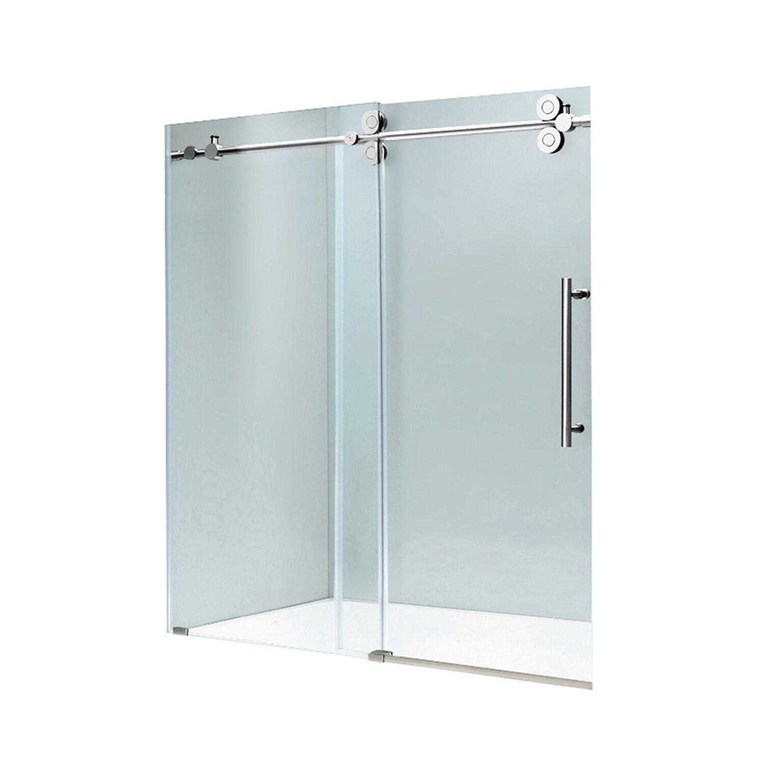 Vigo elan 64 to 68 in frameless sliding shower door with for Sliding glass doors hardware