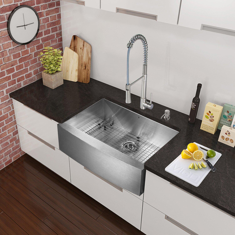 ... inch Farmhouse Apron Single Bowl 16 Gauge Stainless Steel Kitchen Sink