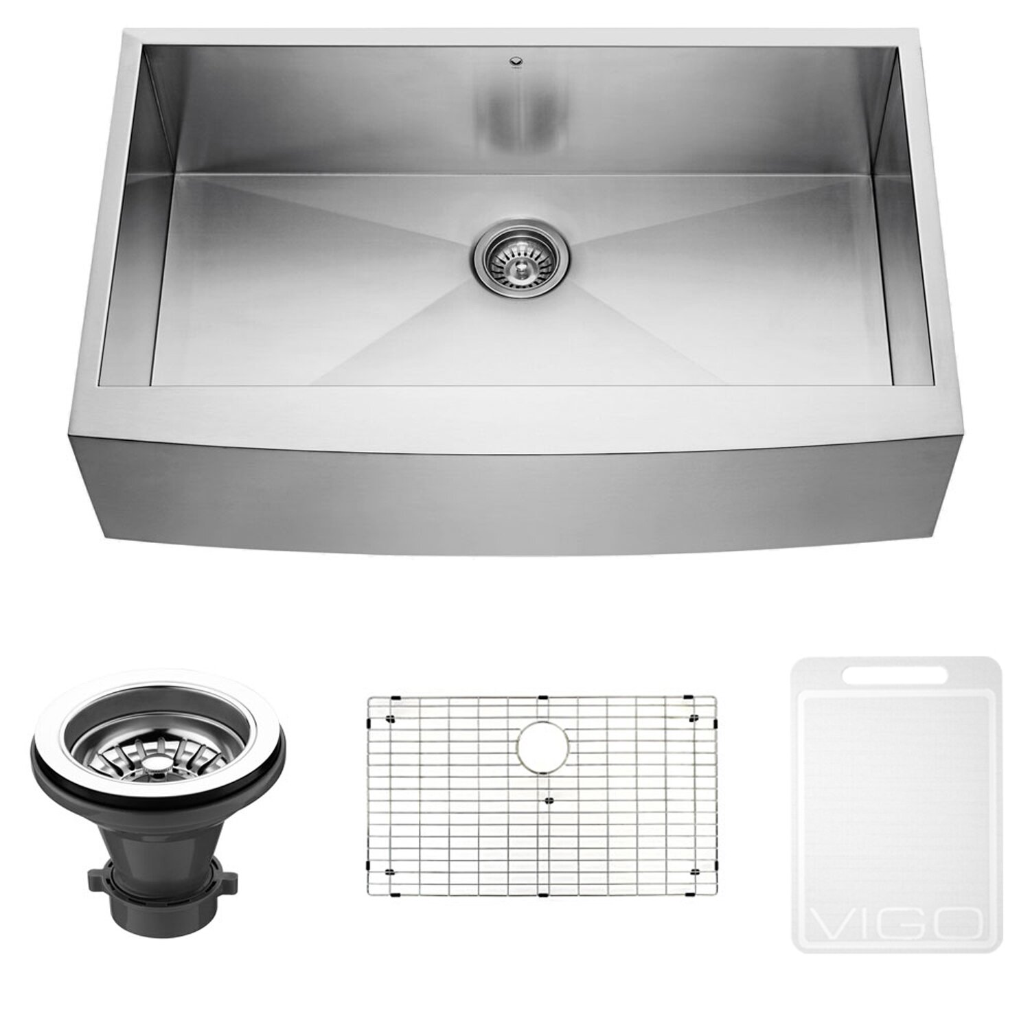 Vigo 36 inch Farmhouse Apron Single Bowl 16 Gauge Stainless Steel Kitchen Sink & Reviews