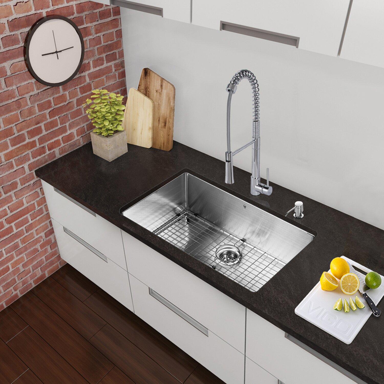 Vigo 30 inch undermount single bowl 16 gauge stainless for 30 undermount bathroom sink
