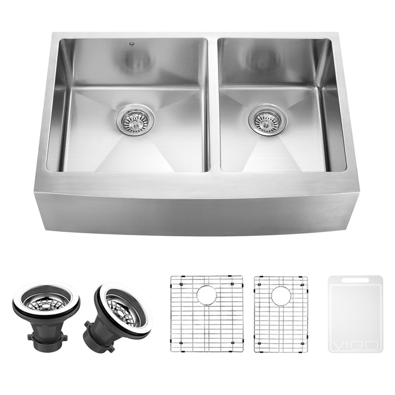 33 inch Farmhouse Apron 60/40 Double Bowl 16 Gauge Stainless Steel ...