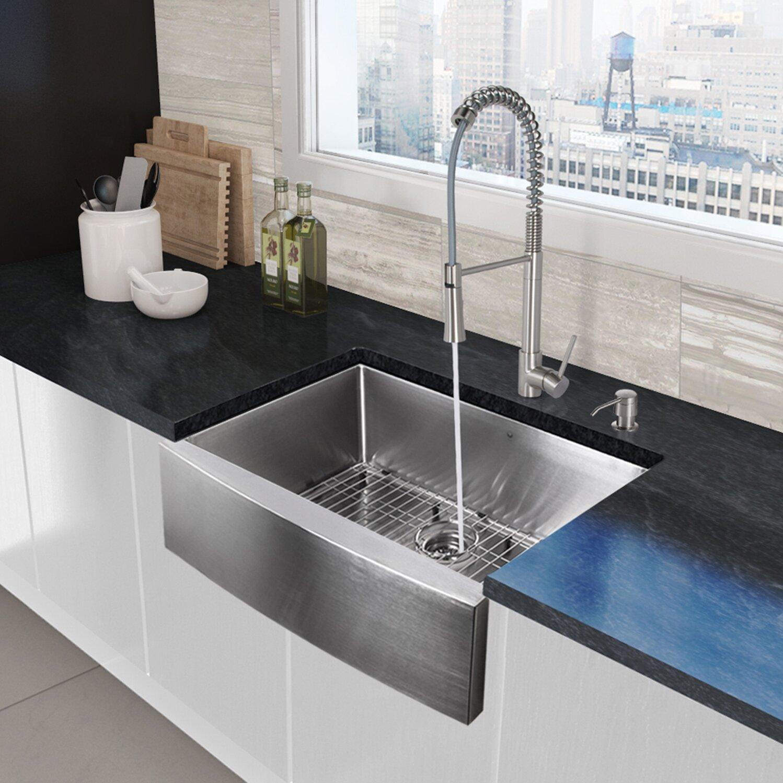 """25 Farm Sink Of Kitchen Lowes Double Chrome Kitchen Sink: Vigo 33"""" X 22.25"""" Farmhouse Apron Single Bowl 16 Gauge"""