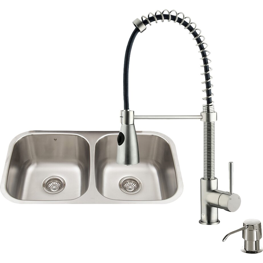 Vigo 32 inch undermount 50 50 double bowl 18 gauge - 18 inch kitchen sink ...