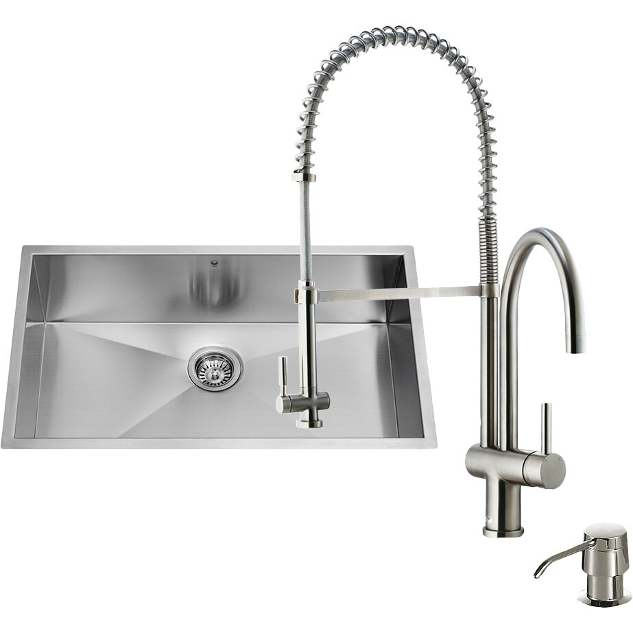 16 Gauge Stainless Steel Kitchen Sink with Dresden Stainless Steel ...