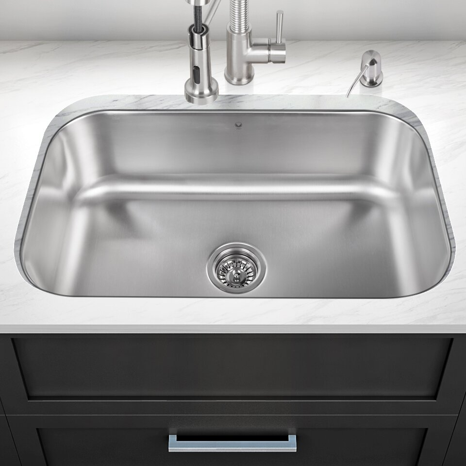 single stainless steel kitchen sink vigo 30 inch undermount single bowl 18 stainless 7965