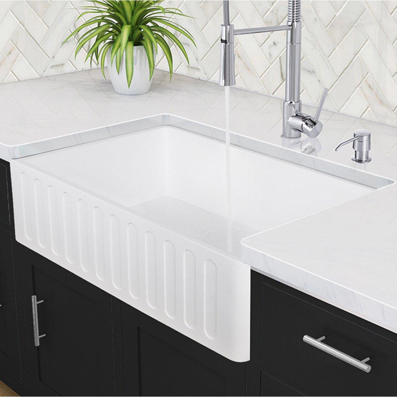 Vigo 36 inch Farmhouse Apron Single Bowl Matte Stone Kitchen Sink & Revie
