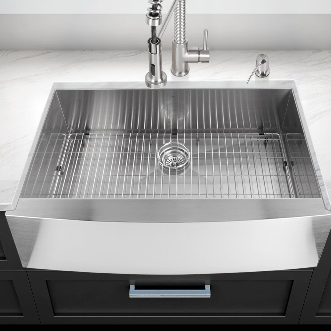... inch Farmhouse Apron Single Bowl 16 Gauge Stainless Steel Kitchen Sink