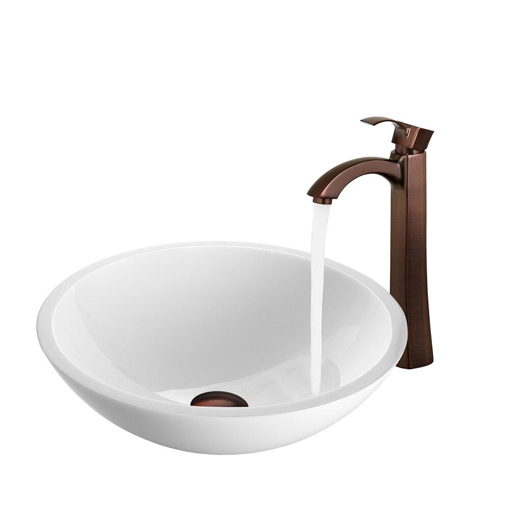 Vigo flat edged white phoenix stone vessel sink and otis for Flat bathroom sinks
