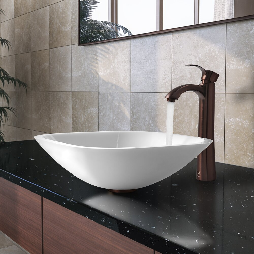 vigo square shaped white vessel sink and 20687