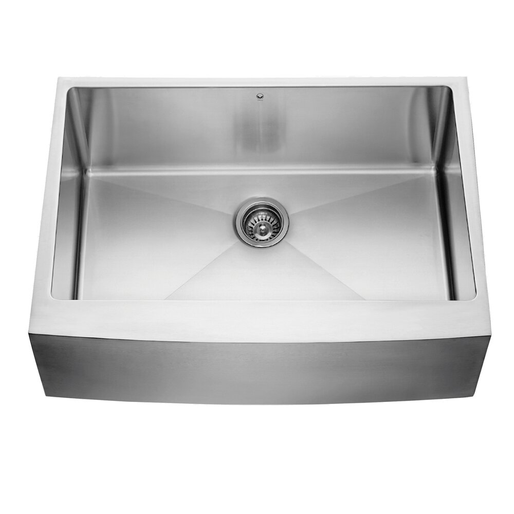 30 In Farmhouse Sink : 30 inch Farmhouse Apron Single Bowl 16 Gauge Stainless Steel Kitchen ...