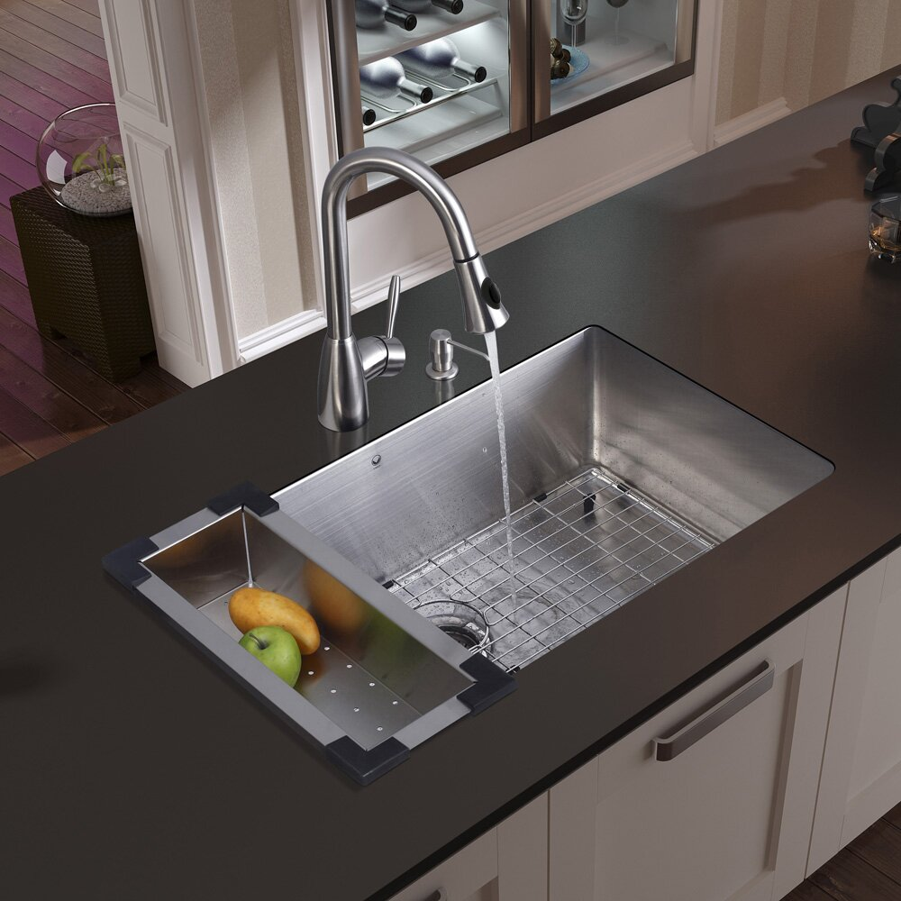 Vigo 30 inch undermount single bowl 16 gauge stainless steel kitchen sink with aylesbury