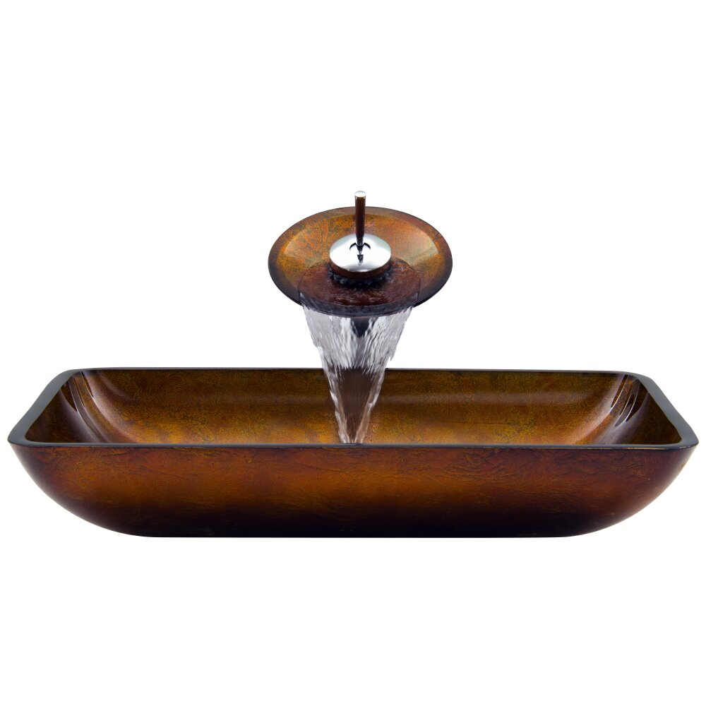 Vigo rectangular russet glass vessel bathroom sink and waterfall faucet with pop up reviews - Waterfall faucet for sink ...