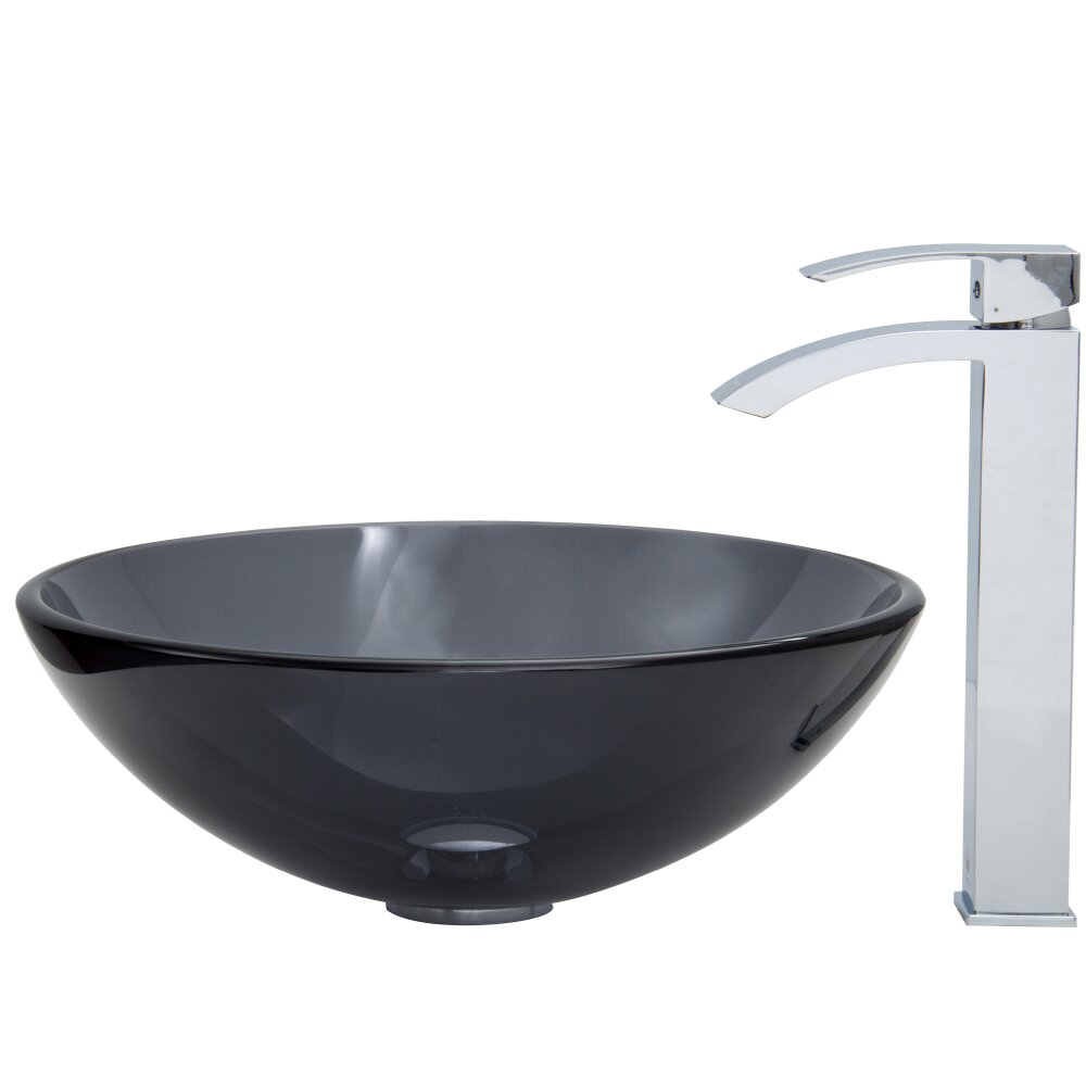Vigo White Frost Vessel Sink and Duris Vessel Faucet with Pop Up ...