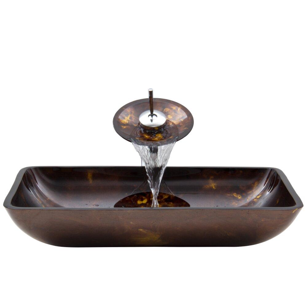 Vigo Rectangular Russet Glass Vessel Bathroom Sink And