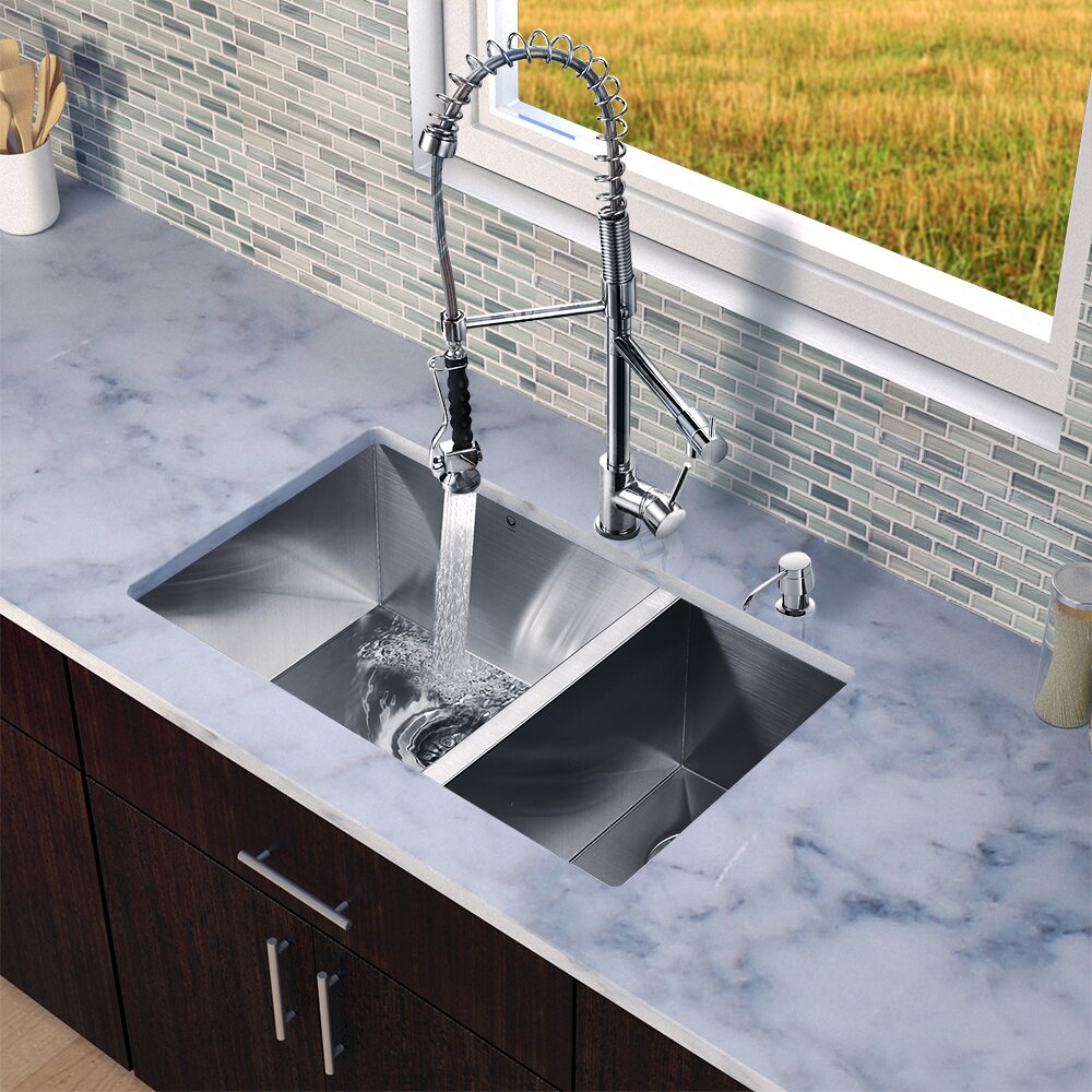 Sink Grids For Stainless Steel Sinks : ... Inch Undermount Stainless Steel Kitchen Sink Two Grids Two Strainers