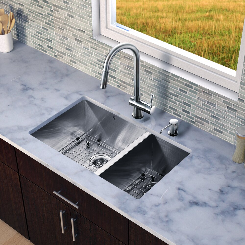 30 Stainless Steel Sink : Undermount 70/30 Double Bowl 16 Gauge Stainless Steel Kitchen Sink ...