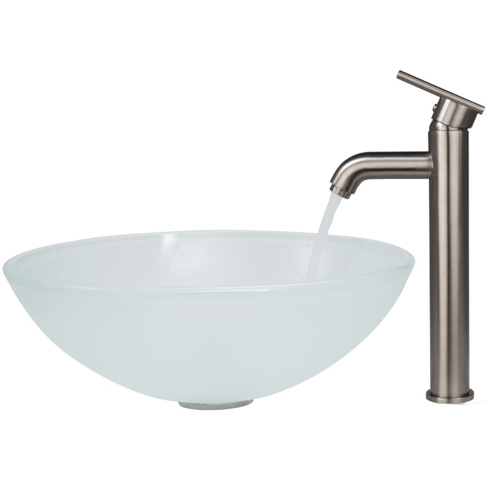 Vigo White Frost Vessel Sink and Seville Vessel Faucet with Pop Up ...