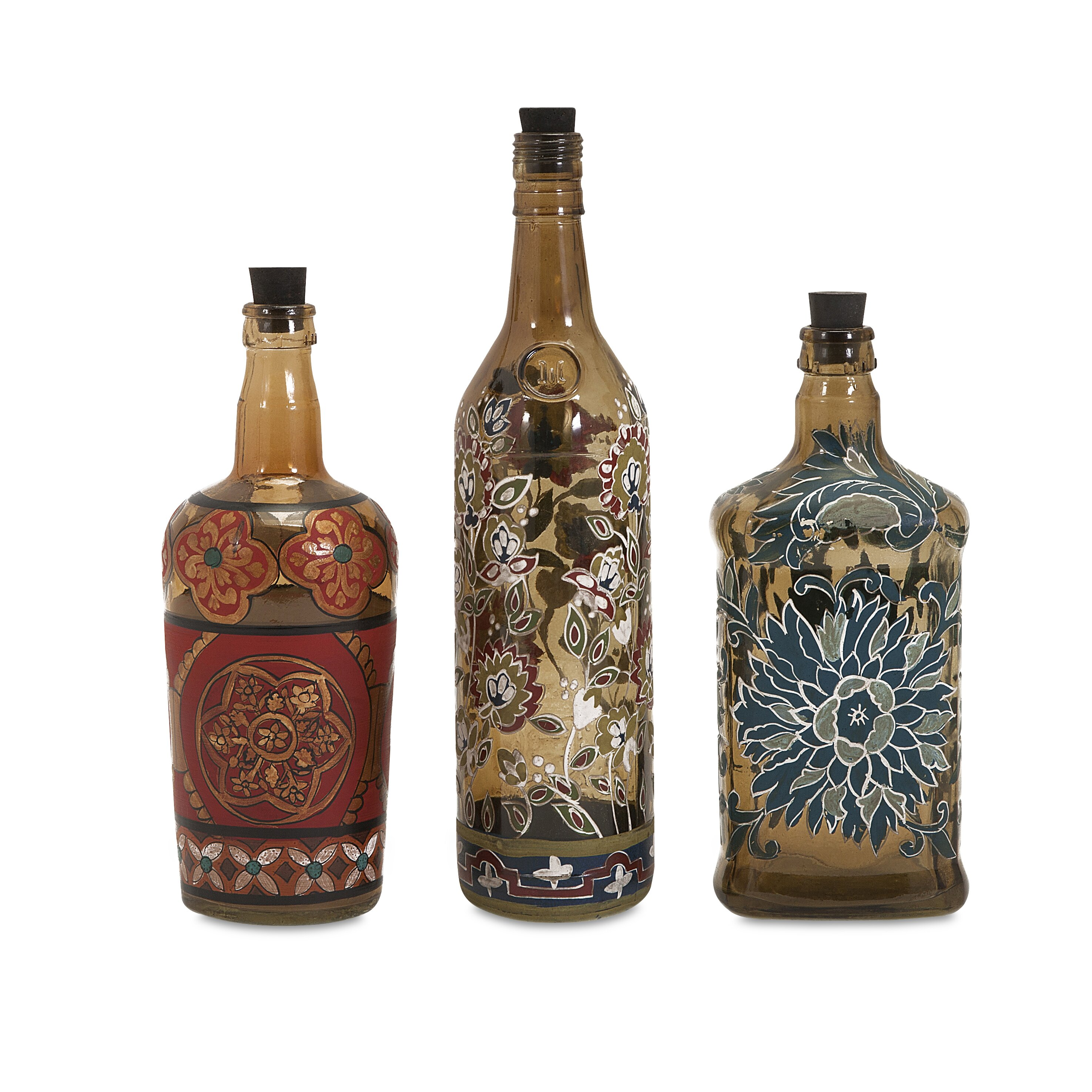 Imax reclaimed hand painted decorative 3 piece bottle set for Decorative vials