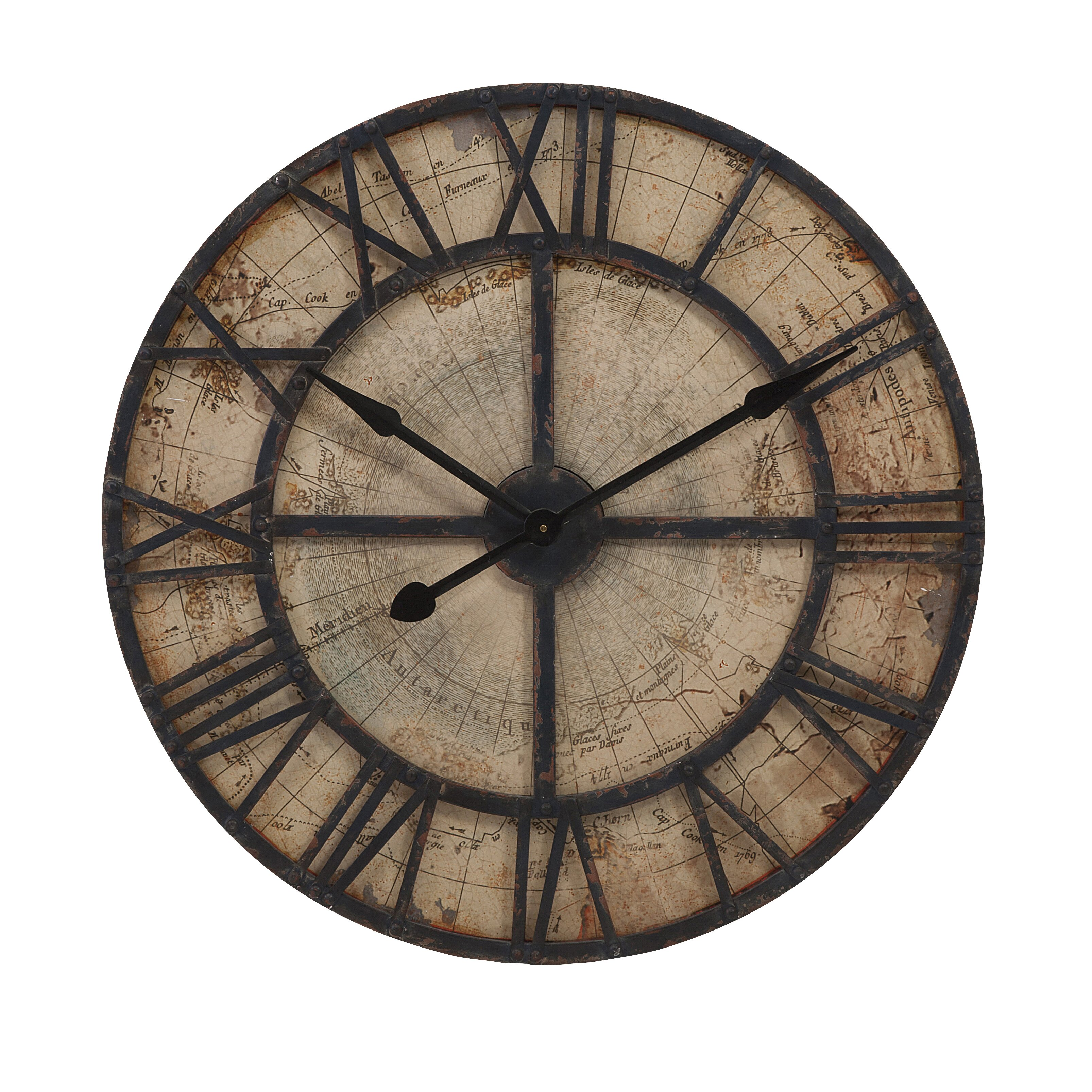 Imax oversized 315quot bryan map wall clock reviews wayfair for Oversized wall clocks canada