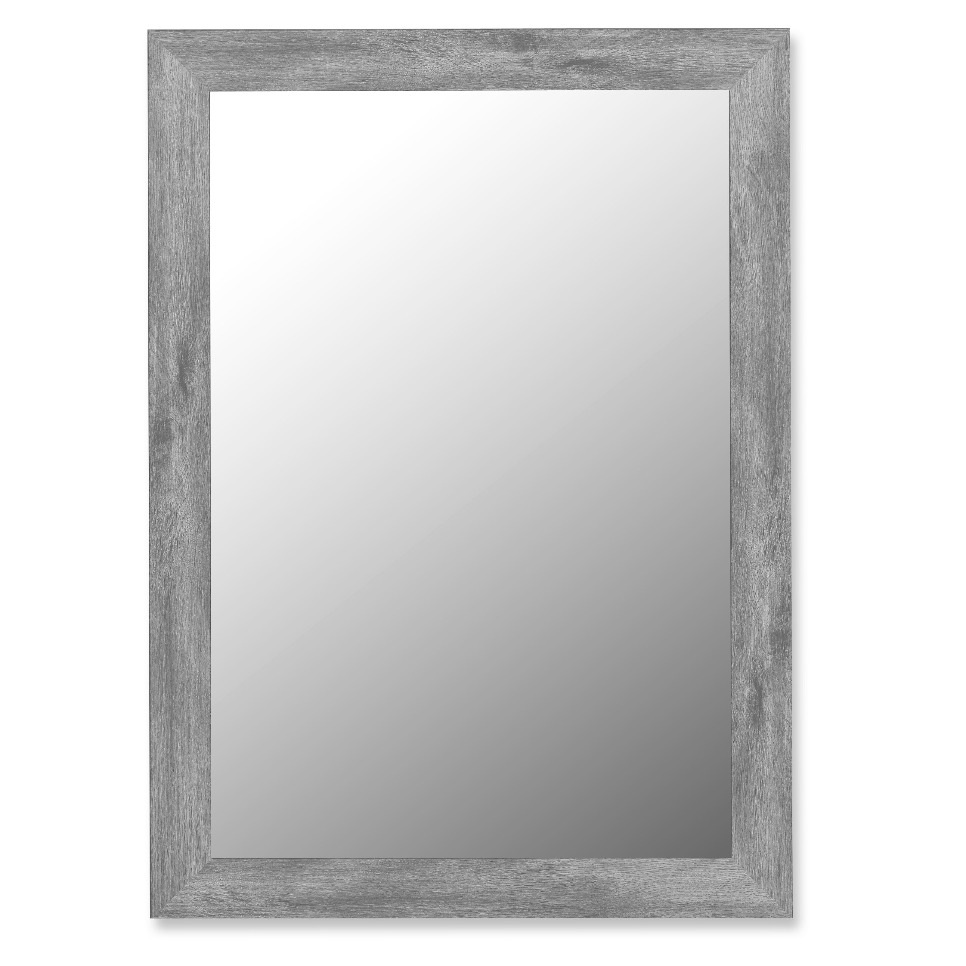 August grove antique weathered grey framed wall mirror for Long grey wall mirror