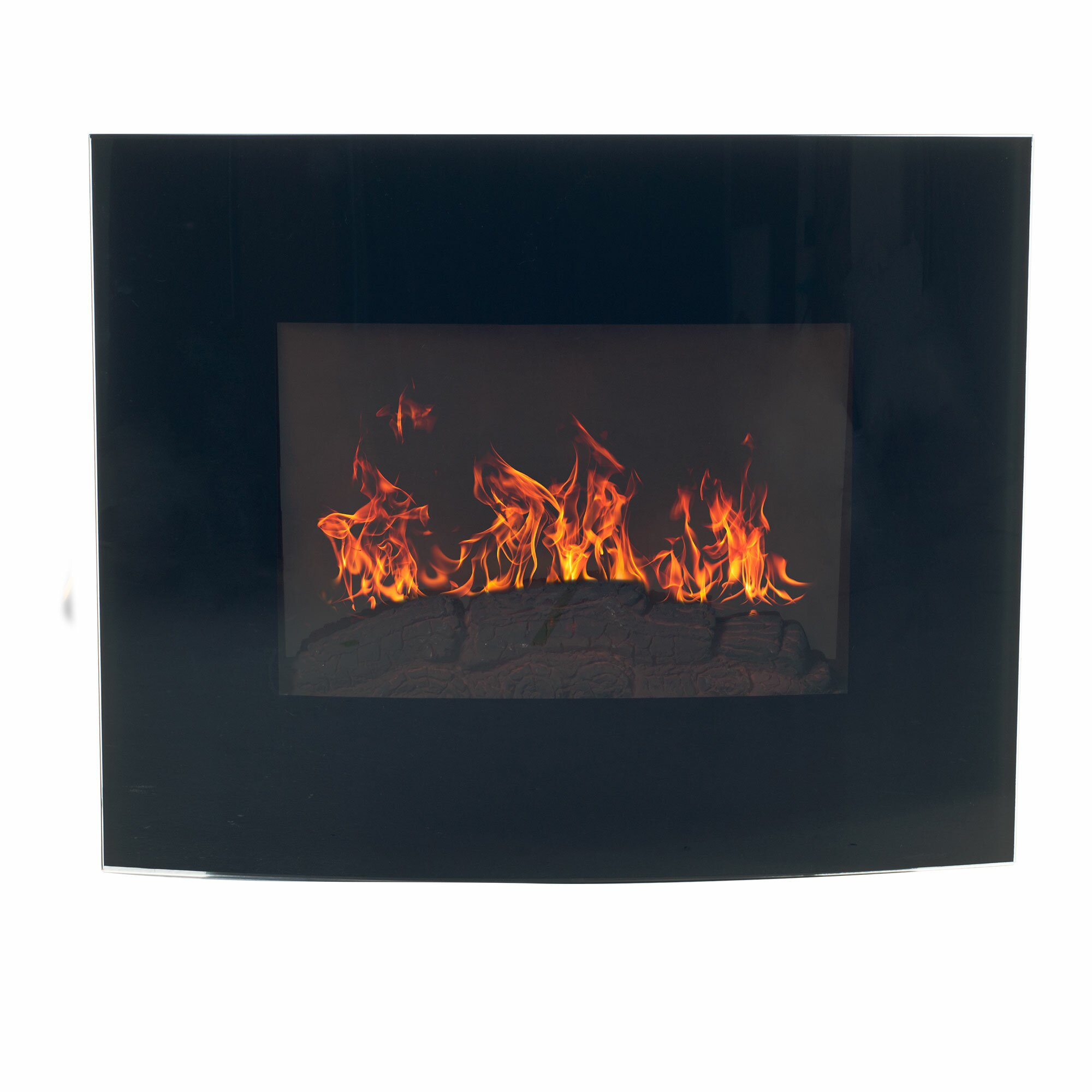 Northwest curved wall mount electric fireplace reviews for Curved glass wall