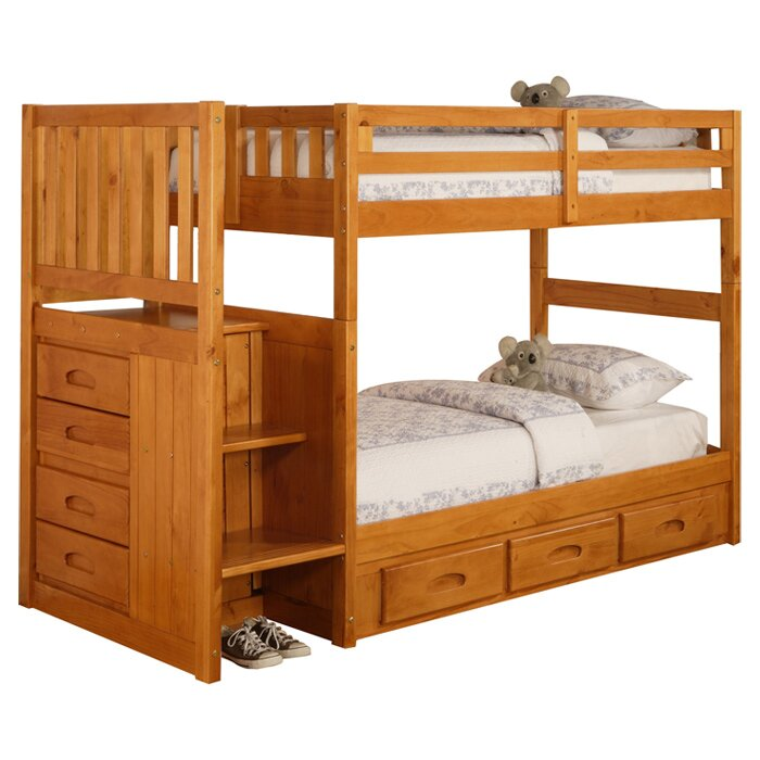 Bed Over Stair Box With Storage And Stairs: Discovery World Furniture Weston Twin Over Twin Bunk Bed