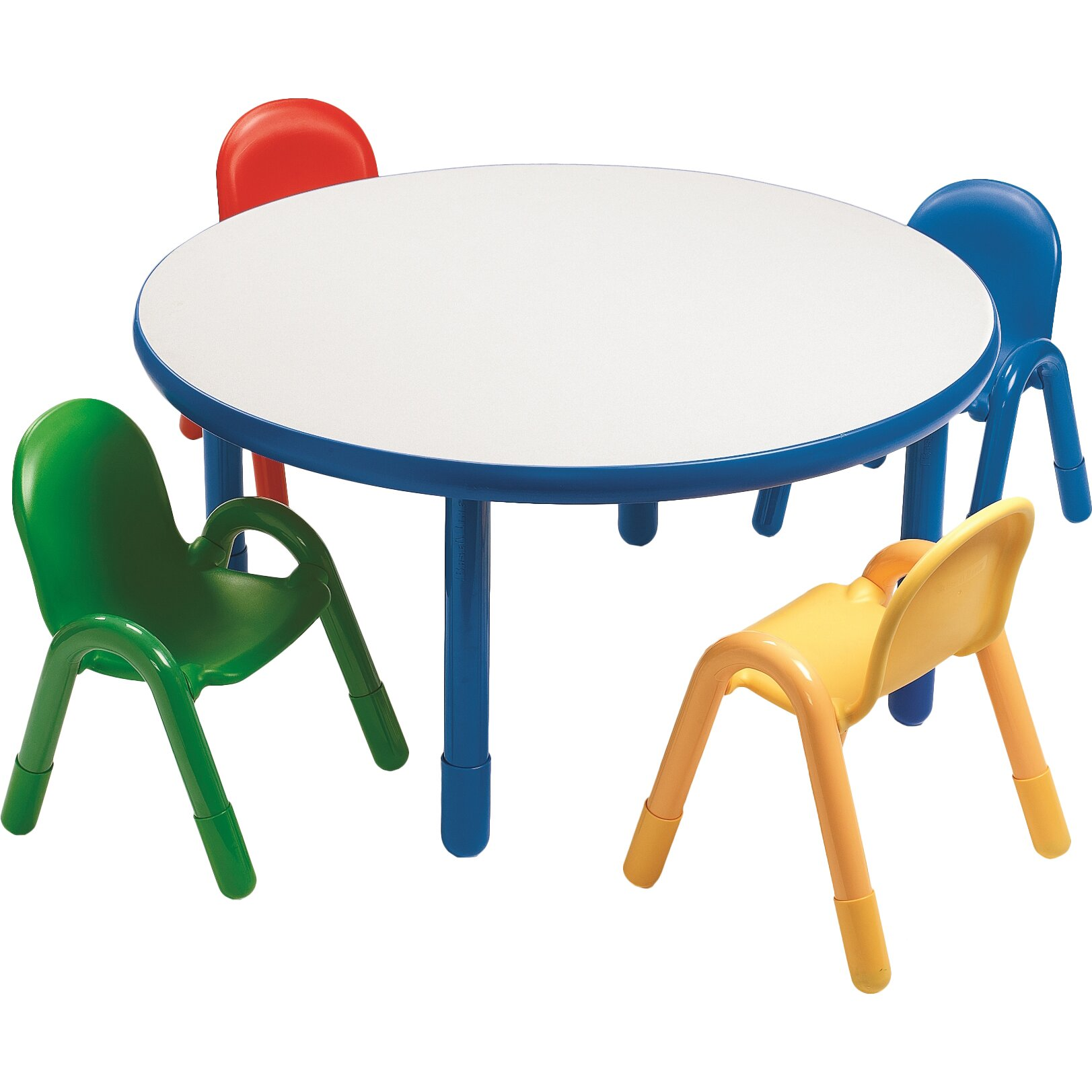 angeles round baseline preschool table and chair set in royal blue reviews wayfair. Black Bedroom Furniture Sets. Home Design Ideas