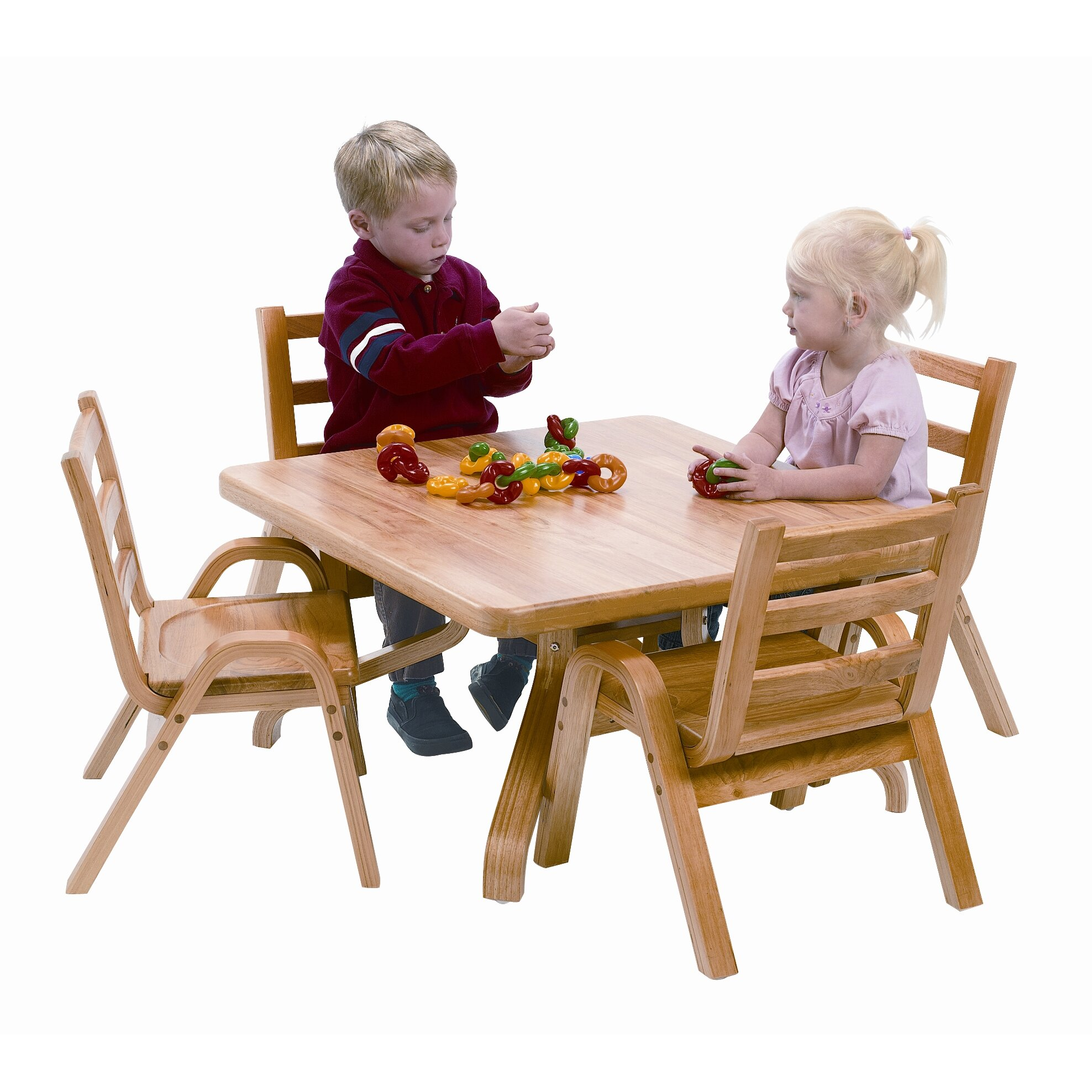 Angeles naturalwood 12 square toddler table and chair set for Table and chair set