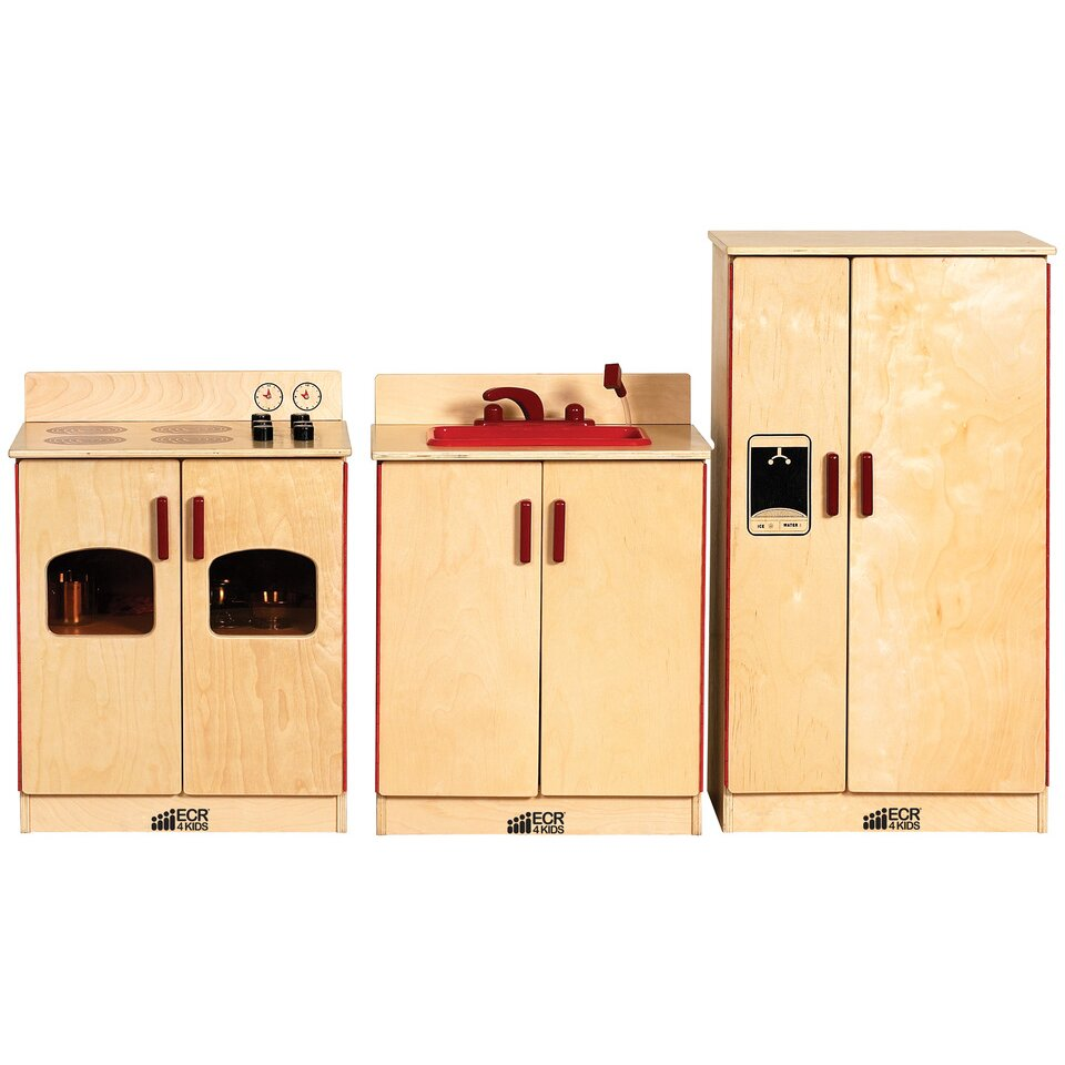 ecr4kids birch 3 play kitchen set wayfair supply