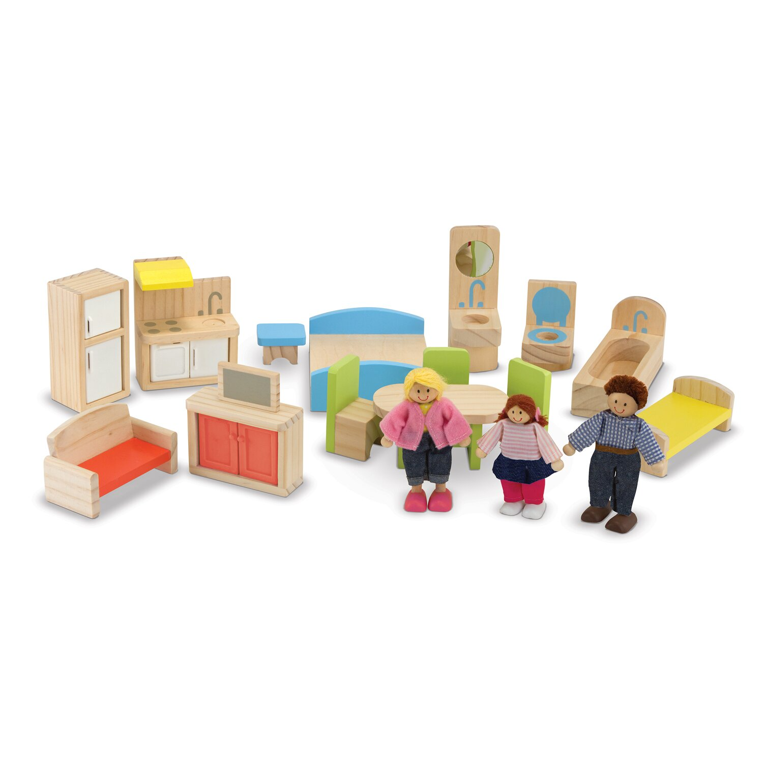 Melissa Doug 19 Piece Hi Rise Dollhouse Set Reviews Wayfair