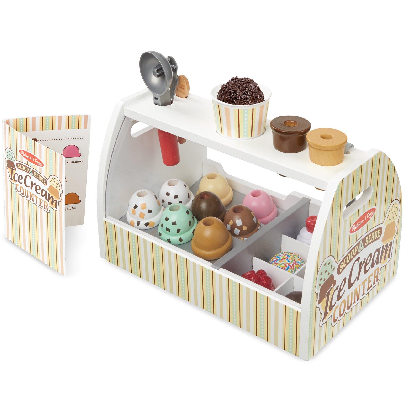 Melissa Amp Doug 20 Piece Scoop And Serve Ice Cream Counter