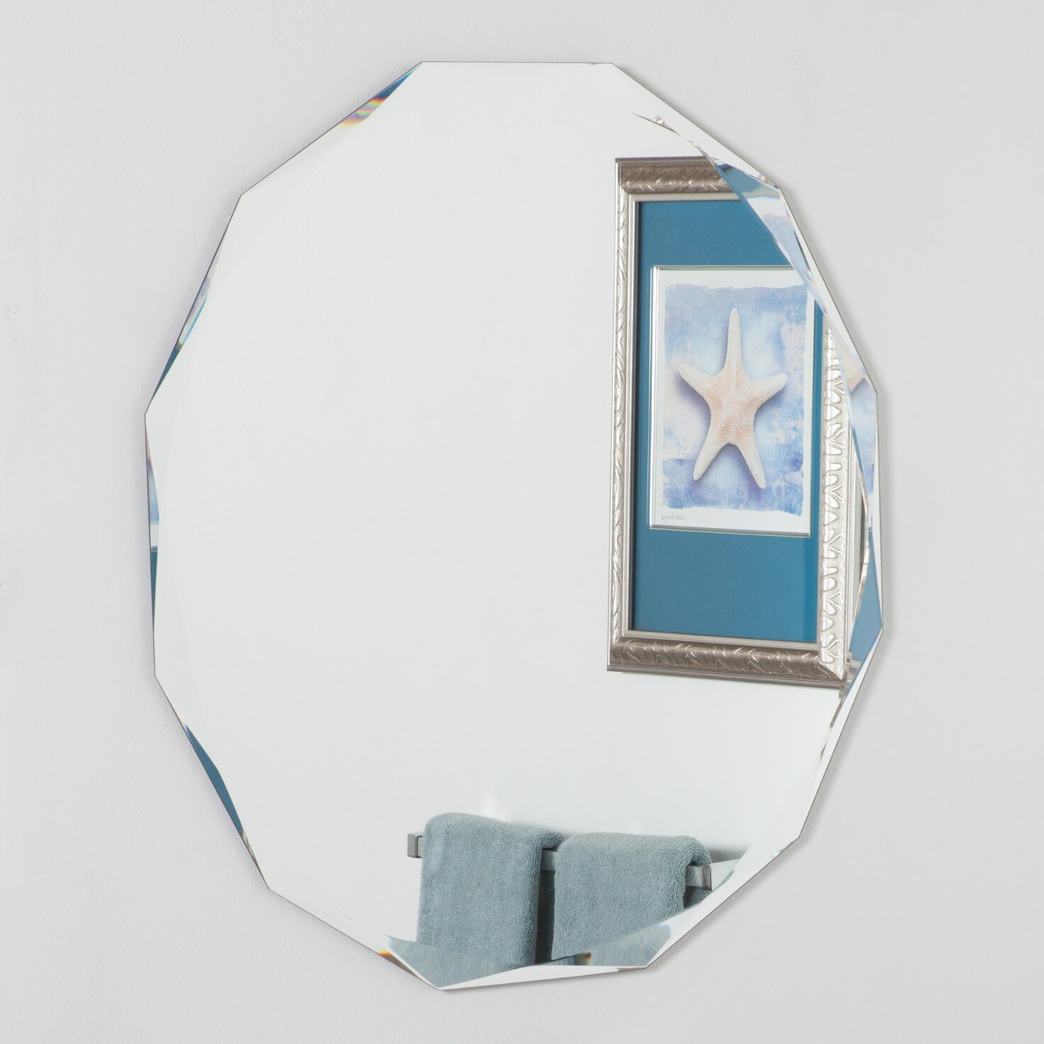 Decor wonderland frameless diamond wall mirror reviews for Frameless wall mirror