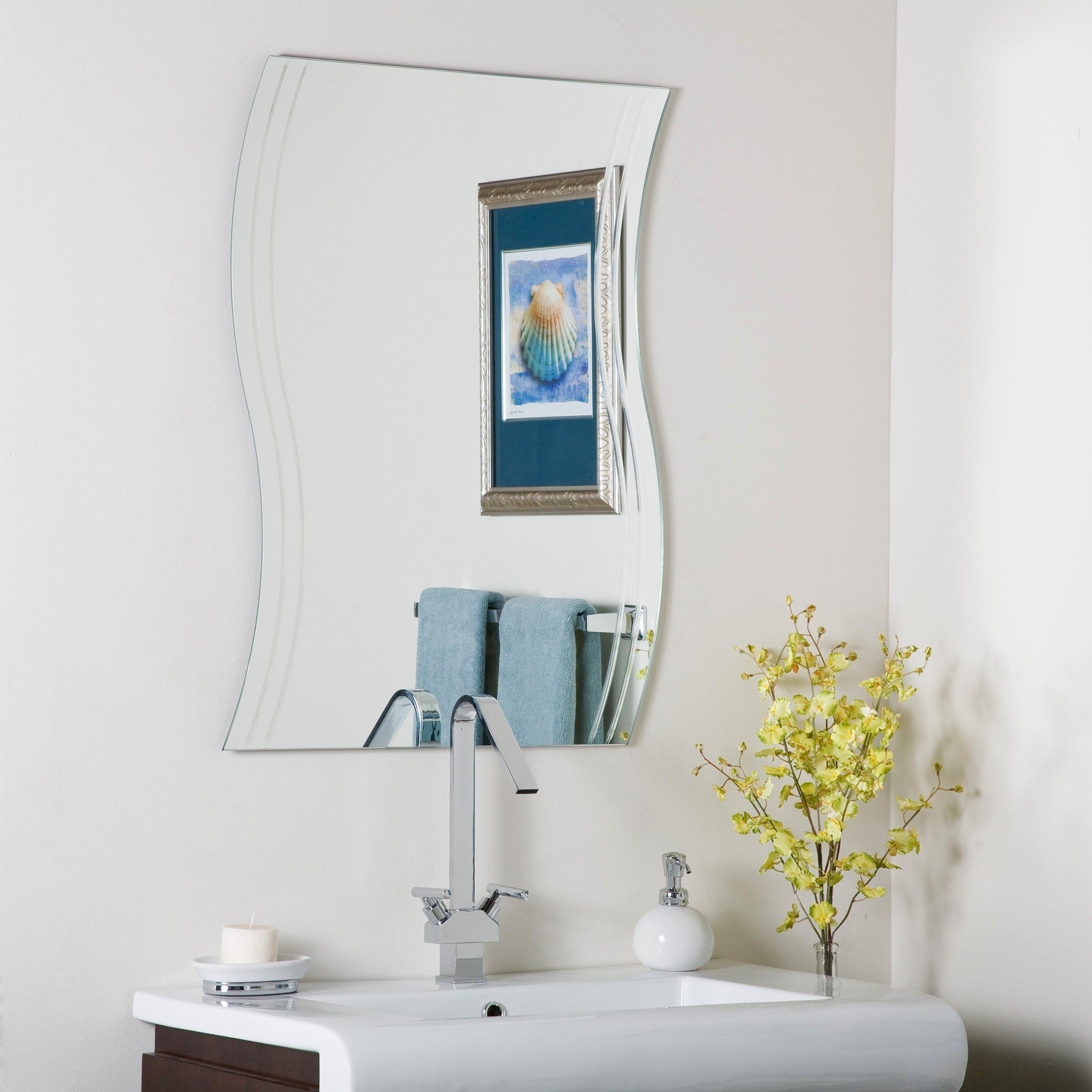 Decor wonderland frameless surf wall mirror reviews for Frameless wall mirror
