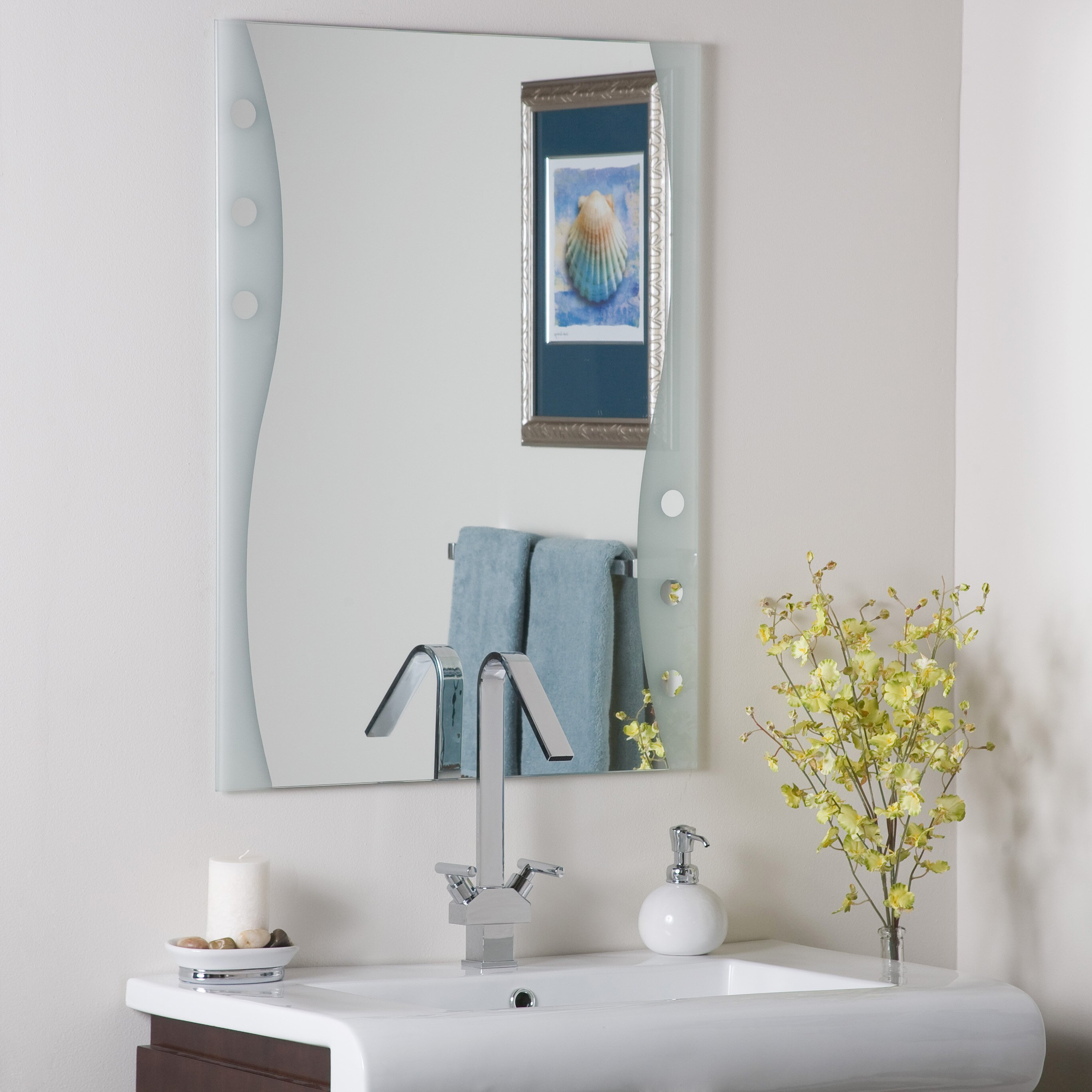 Decor wonderland frameless maritime wall mirror reviews for Frameless wall mirror