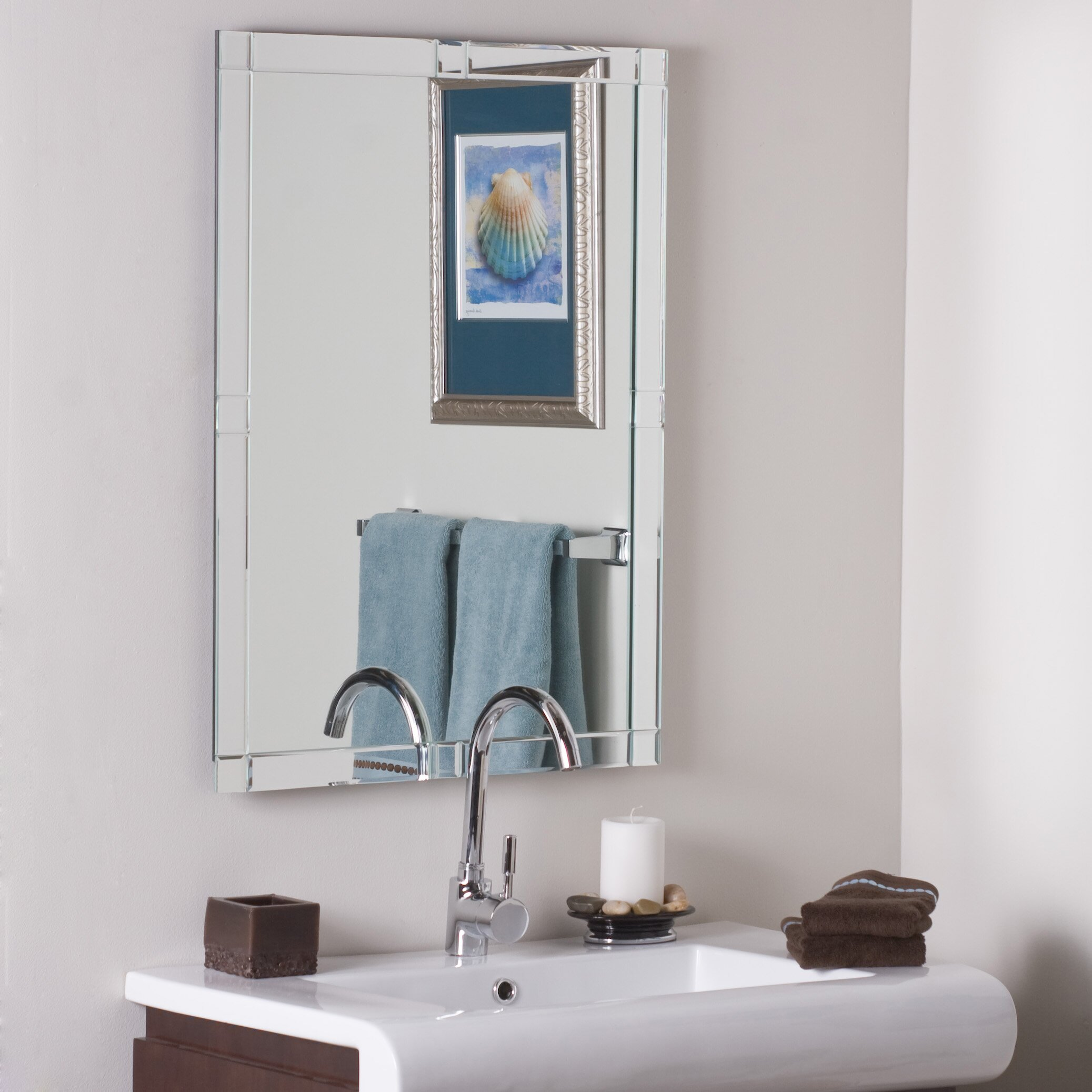 Wade logan mcfarland frameless wall mirror reviews wayfair for Frameless wall mirror