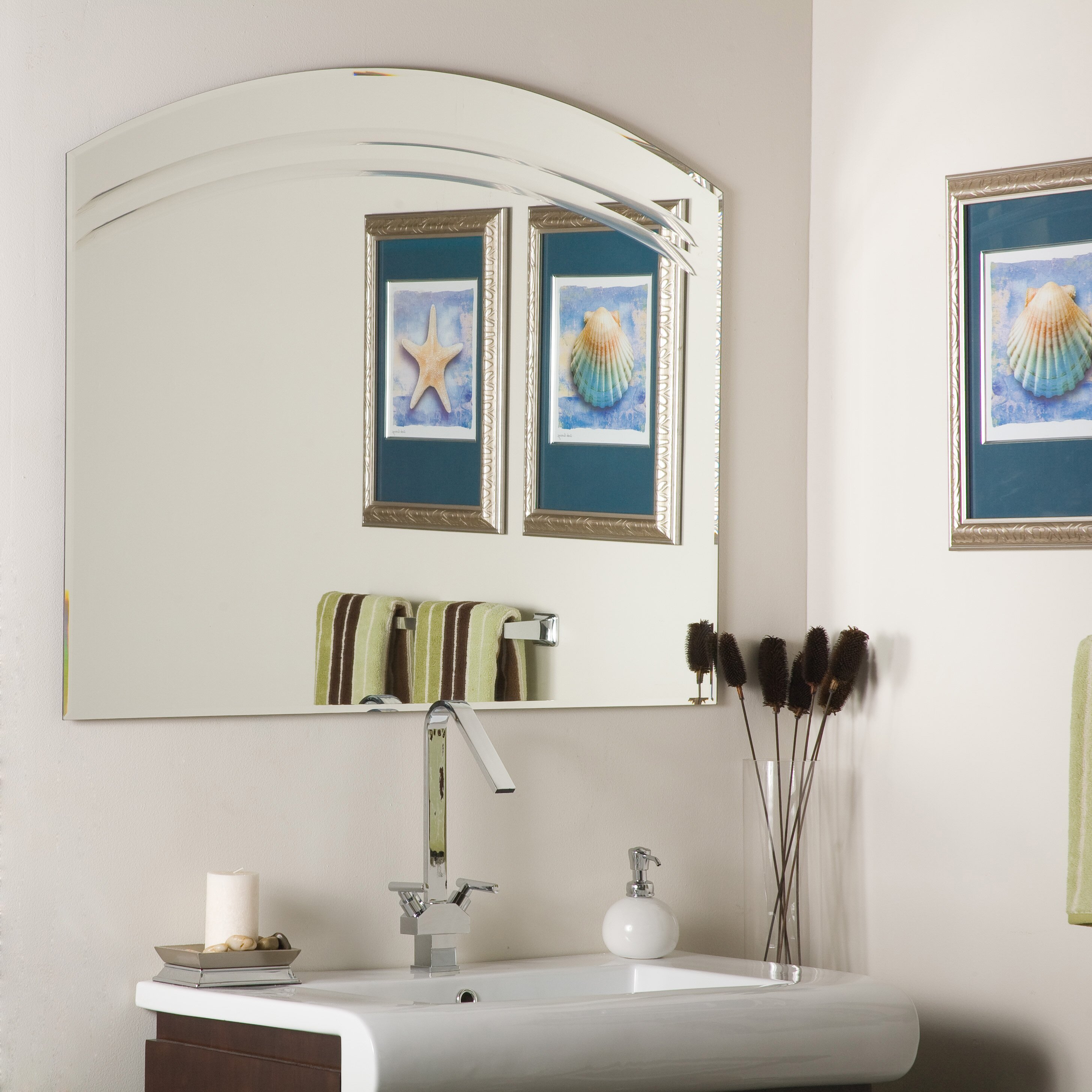 Wade logan duane large frameless wall mirror reviews for Frameless wall mirror