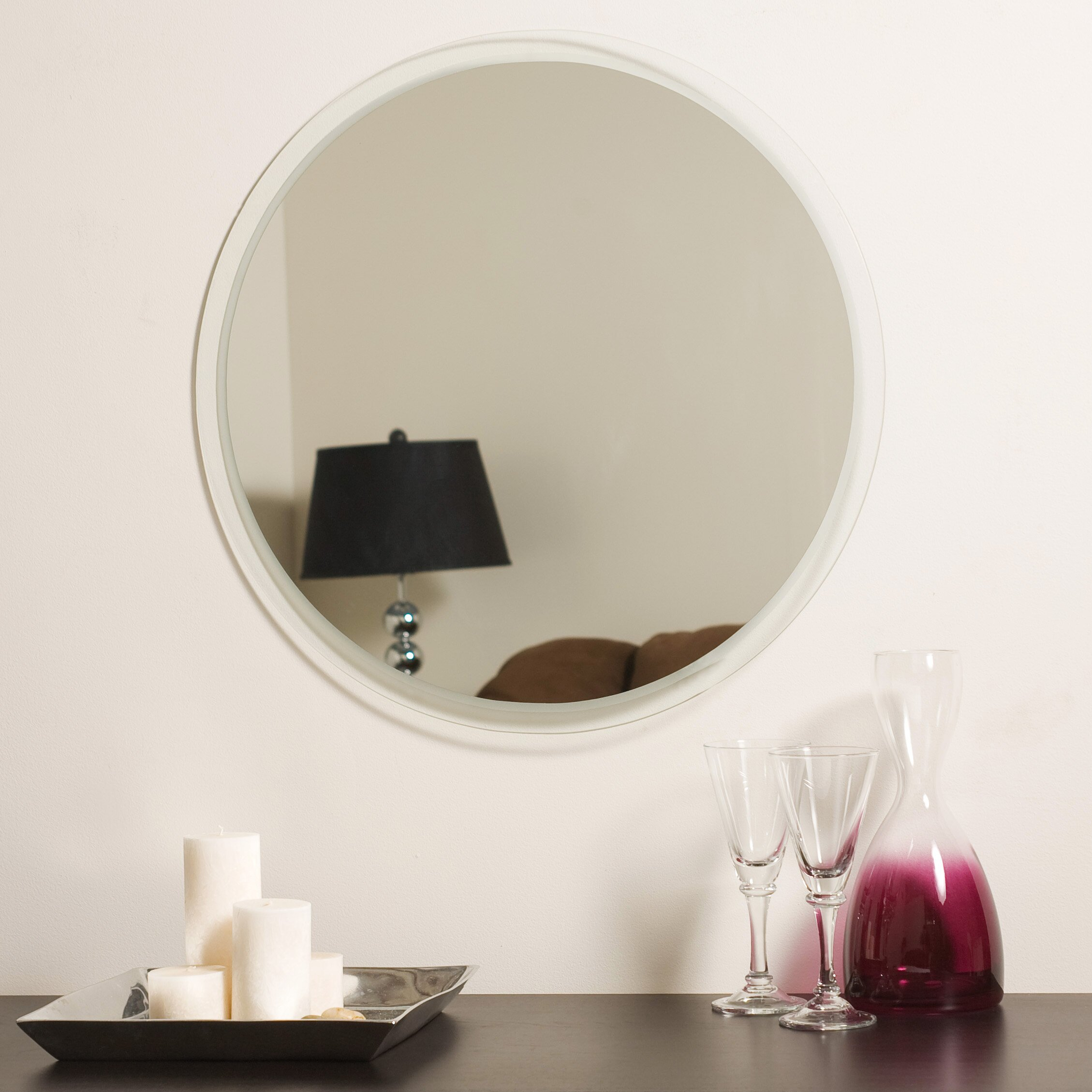 Decor wonderland frameless beveled karnia wall mirror for Frameless wall mirror