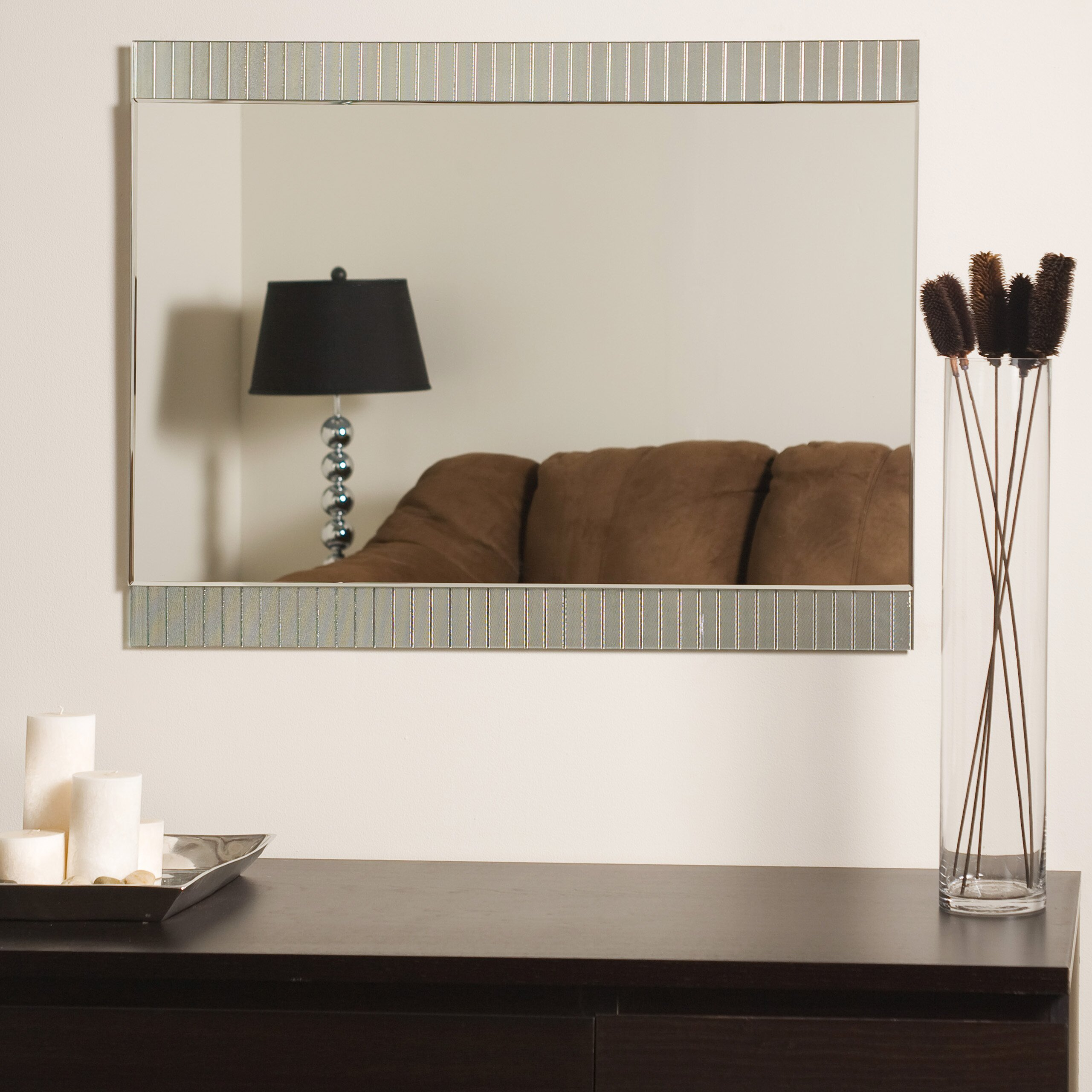Decor wonderland sam frameless wall mirror reviews wayfair for Frameless wall mirror