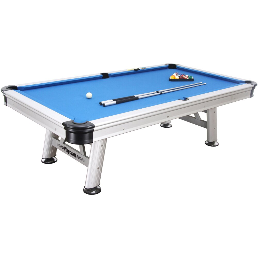 Playcraft extera outdoor 8 39 pool table with playing for Garden pool table room