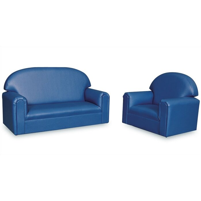 Brand New World Vinyl Overstuffed Furniture Just Like Home 2 Piece Kids Sofa And Chair Set
