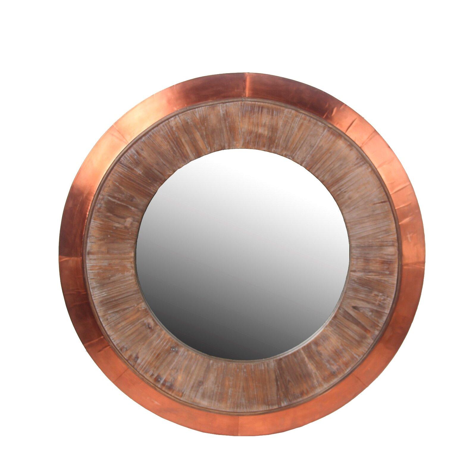 Privilege Wood Amp Copper Round Wall Mirror Amp Reviews Wayfair