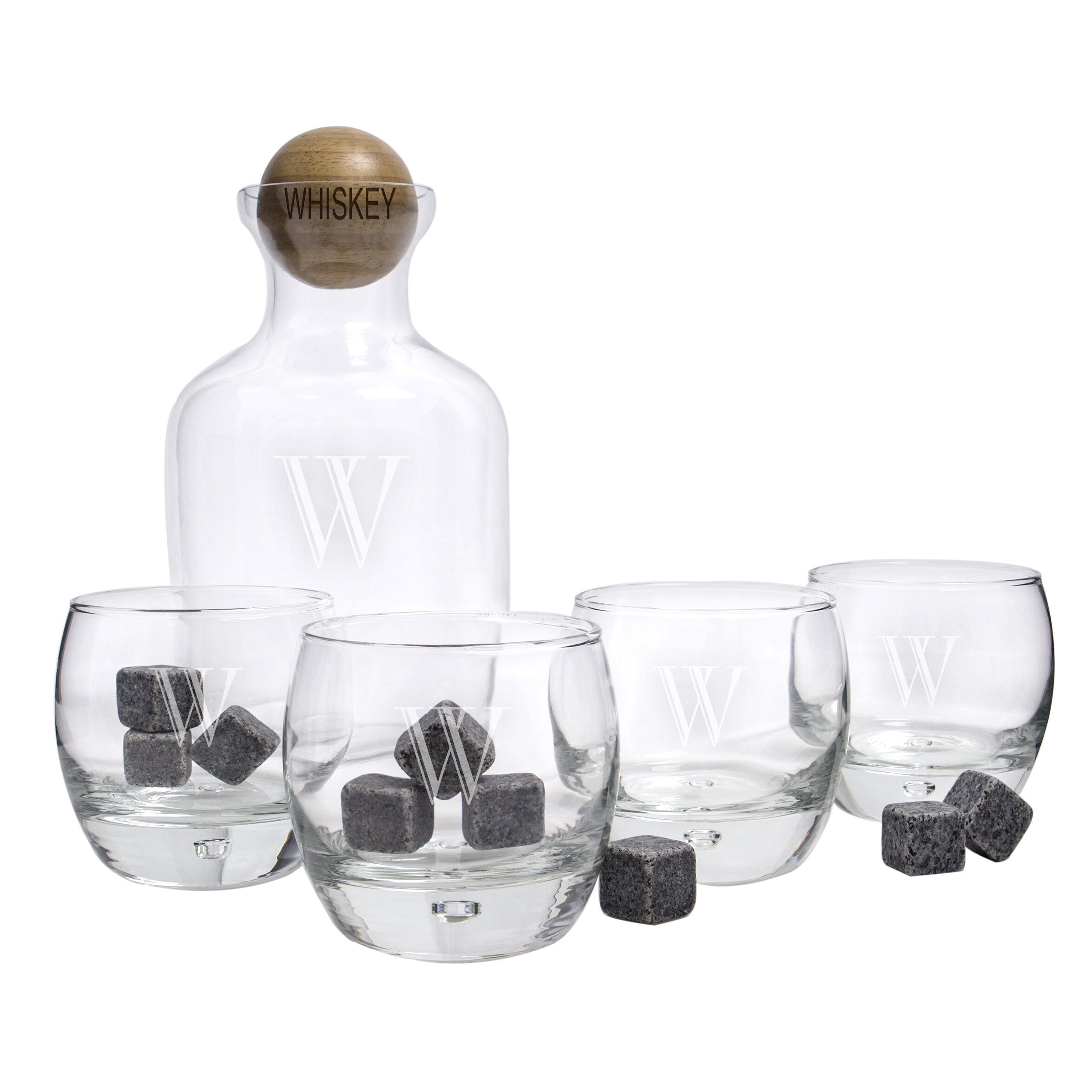 cathys concepts 5 piece personalized whiskey decanter set. Black Bedroom Furniture Sets. Home Design Ideas